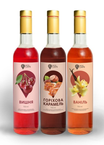 Syrup labels (cherry, hazelnut caramel, vanilla) • Этикетка для сиропа (вишня, ореховая карамель, ваниль) • 2018, Adobe Photoshop, Adobe Illustrator